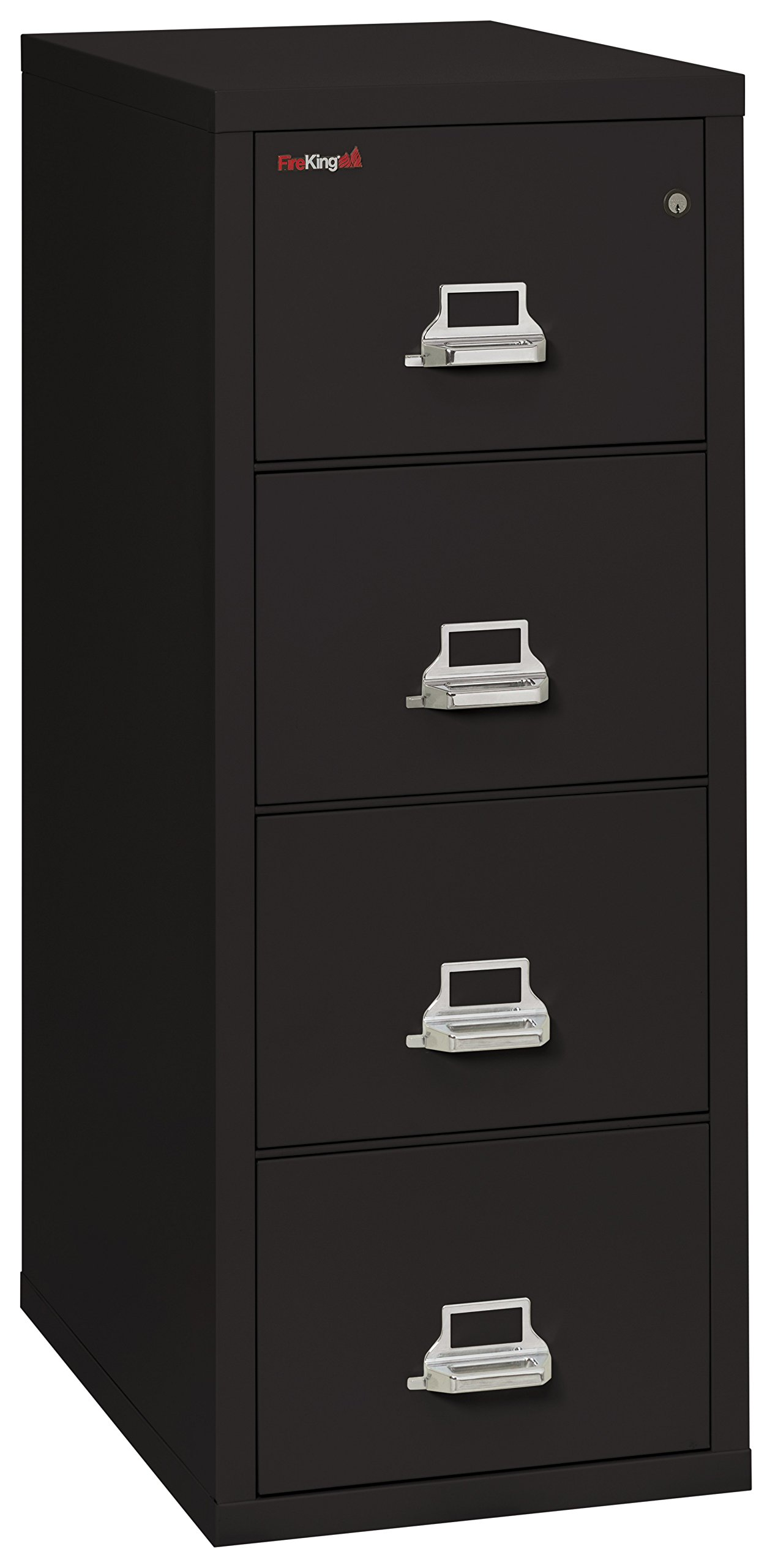 Black 1 hour Fire Impact rated Vertical cabinet 4 Drawer Legal 31 1/2 depth Made in USA