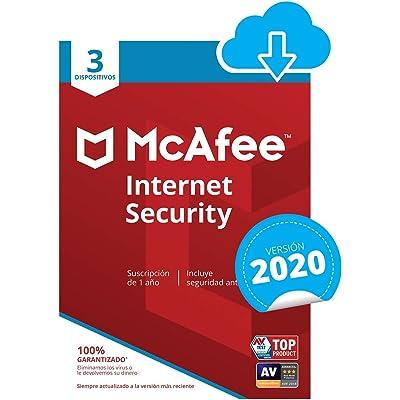 McAfee Internet Security 2020   3 Dispositivo   12 Meses   PC/Mac/Android/Smartphones   Código de activación enviado por email