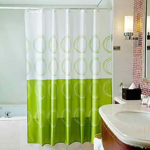 S-ZONE Green Circle Central , Mildew Proof Polyester Fabric Shower Curtain 72x72 Inch (Circle Central)