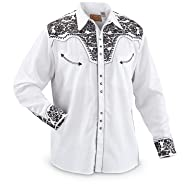 Scully Men's Floral Embroidered Retro Shirt Big - P-634 Silver_X