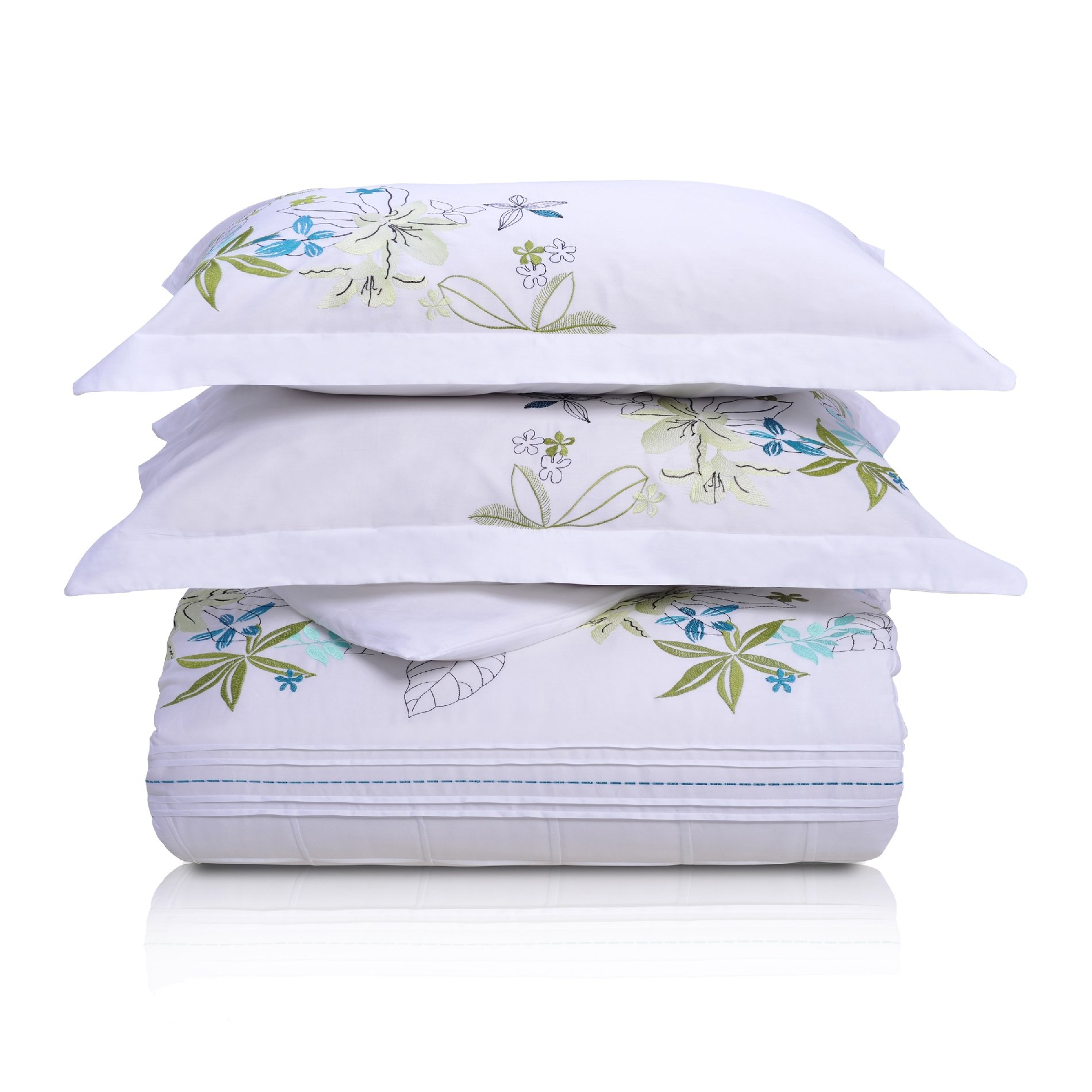 Superior Spring Blooms 100% Premium Cotton Twill Fabric Full/Queen Embroidered Duvet Set