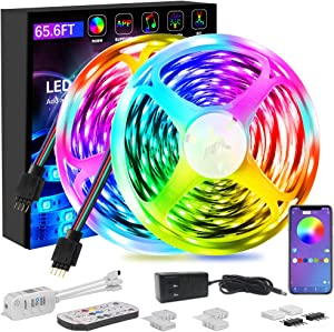 65.6ft LED Strip Lights, Ultra-Long Bluetooth APP Control LED Light Strip with Remote,ehomful 600LEDs RGB LED Lights,Music Sync Color Changing DIY for Room,Kitchen,Bar,Home Decor Party Christmas