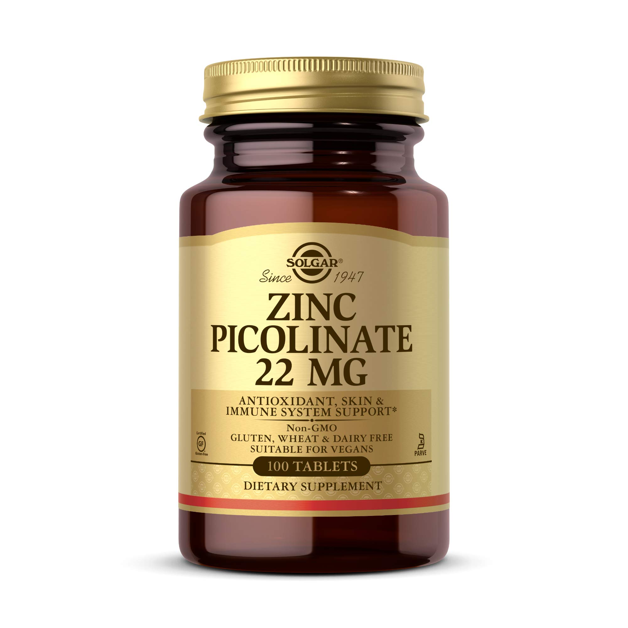 Solgar Zinc Picolinate 22 mg, 100 Tablets - Promotes Healthy Skin - Supports Immune System, Normal Taste & Vision - Antioxidant - Non GMO, Vegan, Gluten Free, Dairy Free, Kosher - 100 Servings