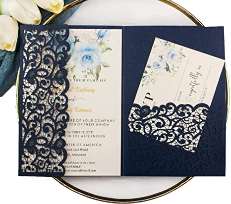 25pcs 5 X7 28 Navy Blue Vintage Tri Fold Wedding Invitations