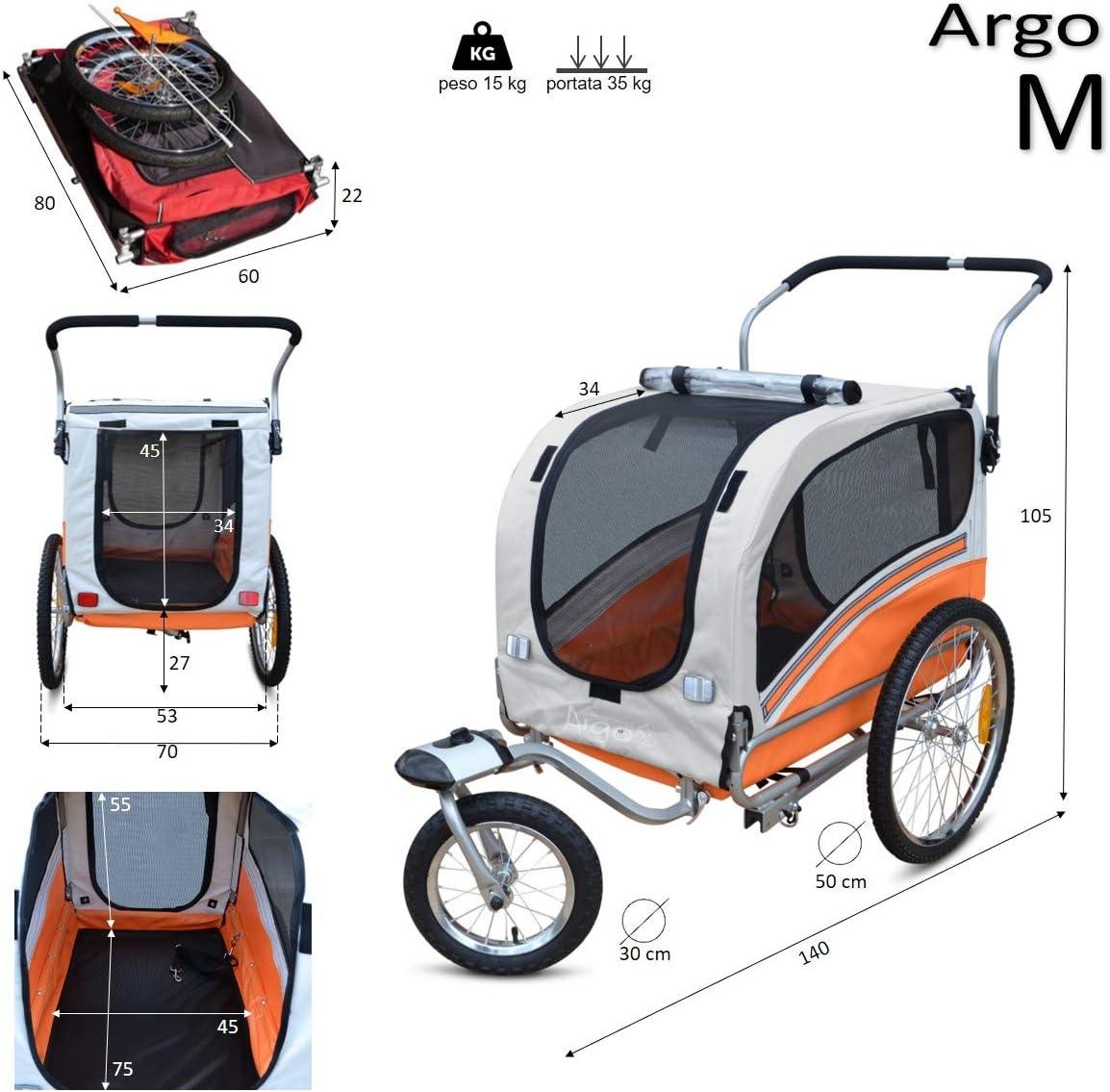 Anaranjado M Papilioshop Argo Remolque Bici y Silla de Paseo para Perro Mascota