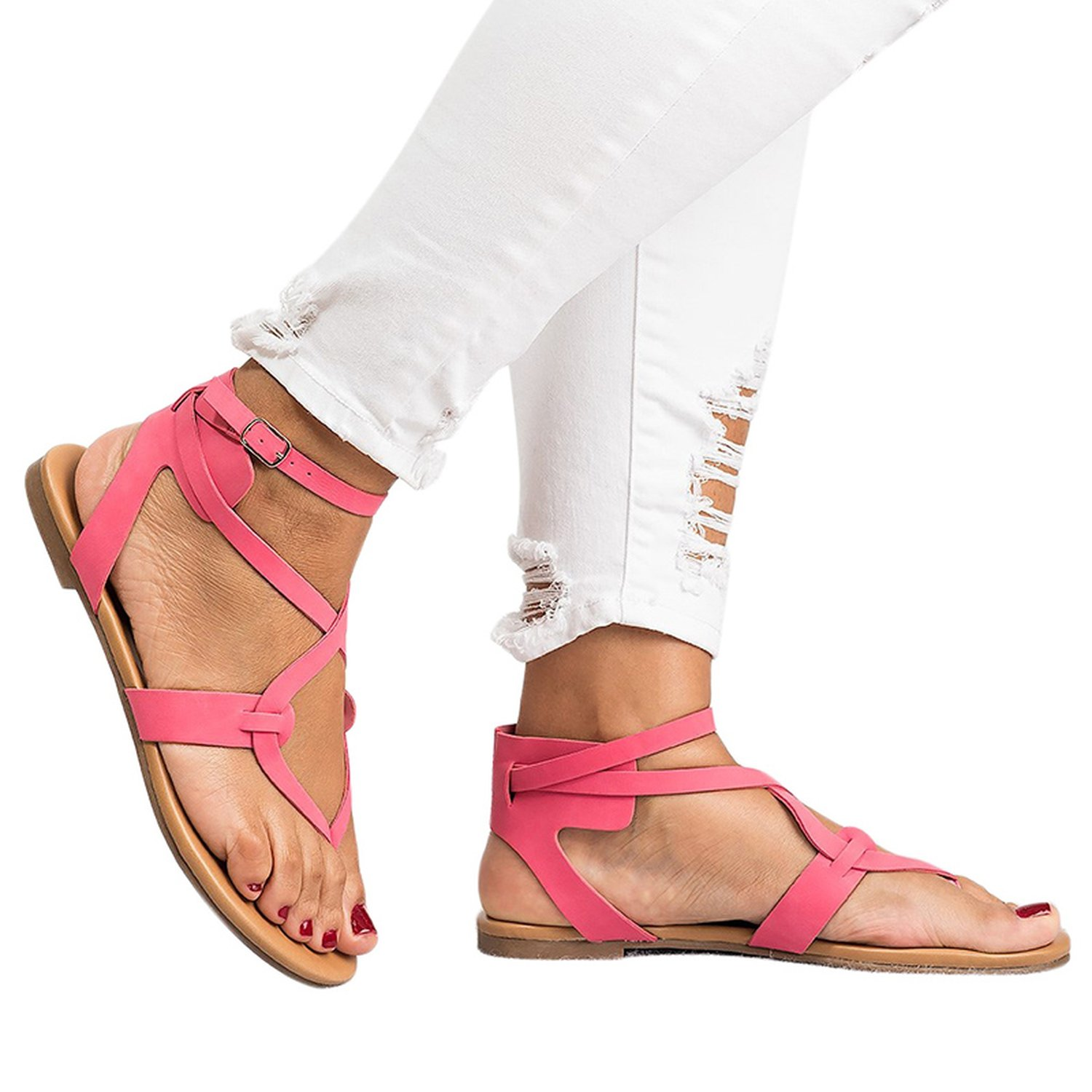 Romantic moments New Arrive Women Gladiator Sandals Summer Women Shoes Plus Size 35-43 Flats Sandals B07DLSV7SY 8 B(M) US|Red