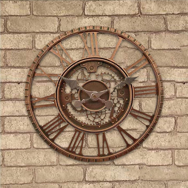 Outdoor Garden Wall Clock, Steampunk Wall Clock Retro Waterproof Wall Clock Open Face Garden Clock Red Copper Effect Indoor Outdoor Decoration Clock Quartz Clock (12 Inch)