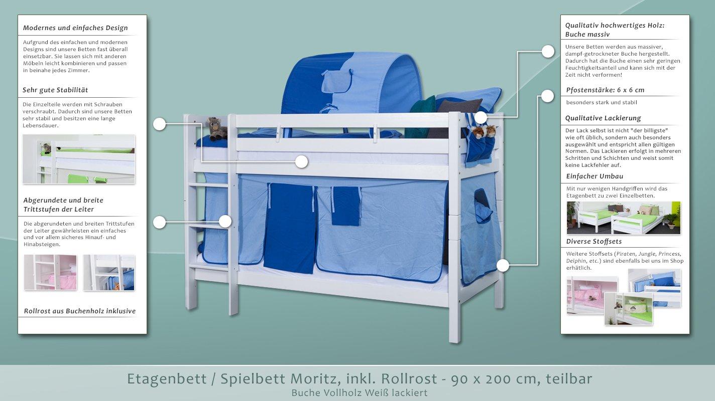Etagenbett Moritz L : Etagenbett spielbett moritz buche vollholz massiv weiß lackiert