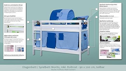 Etagenbett Moritz Buche : Etagenbett spielbett moritz buche vollholz massiv weiß lackiert
