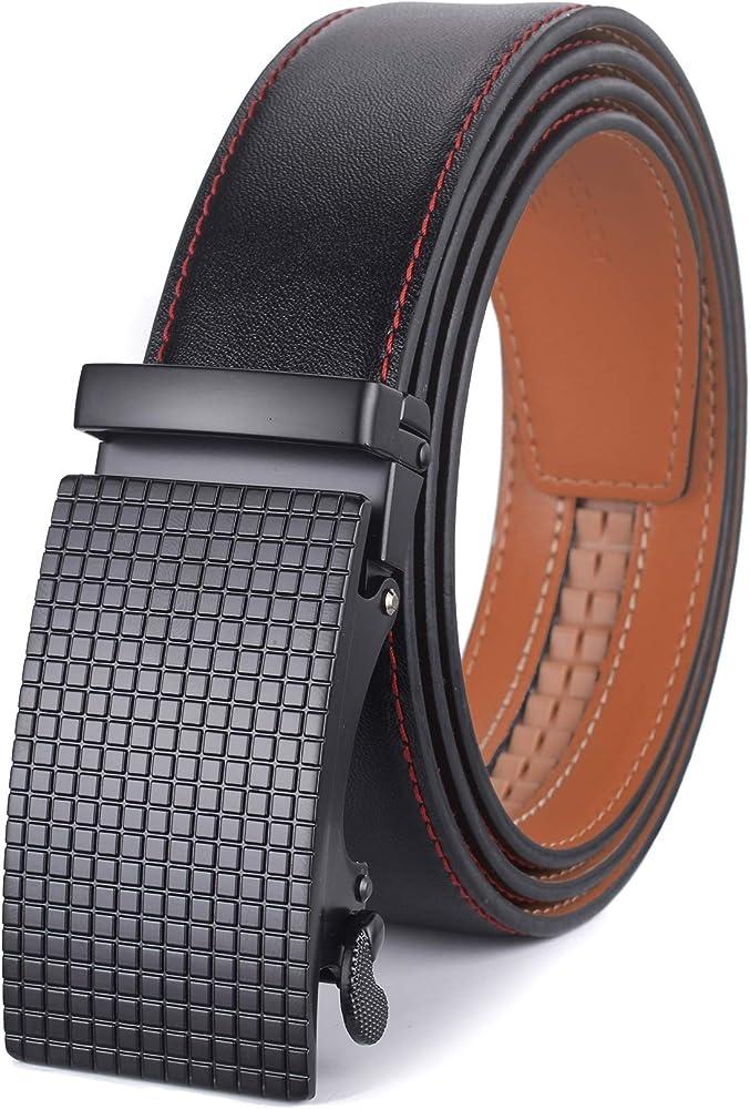 plyesxale Men's Belts Leather Ratchet Dress Belt with Automatic Buckle Gift  Box (Black Belt K199S13, Waist:26-36