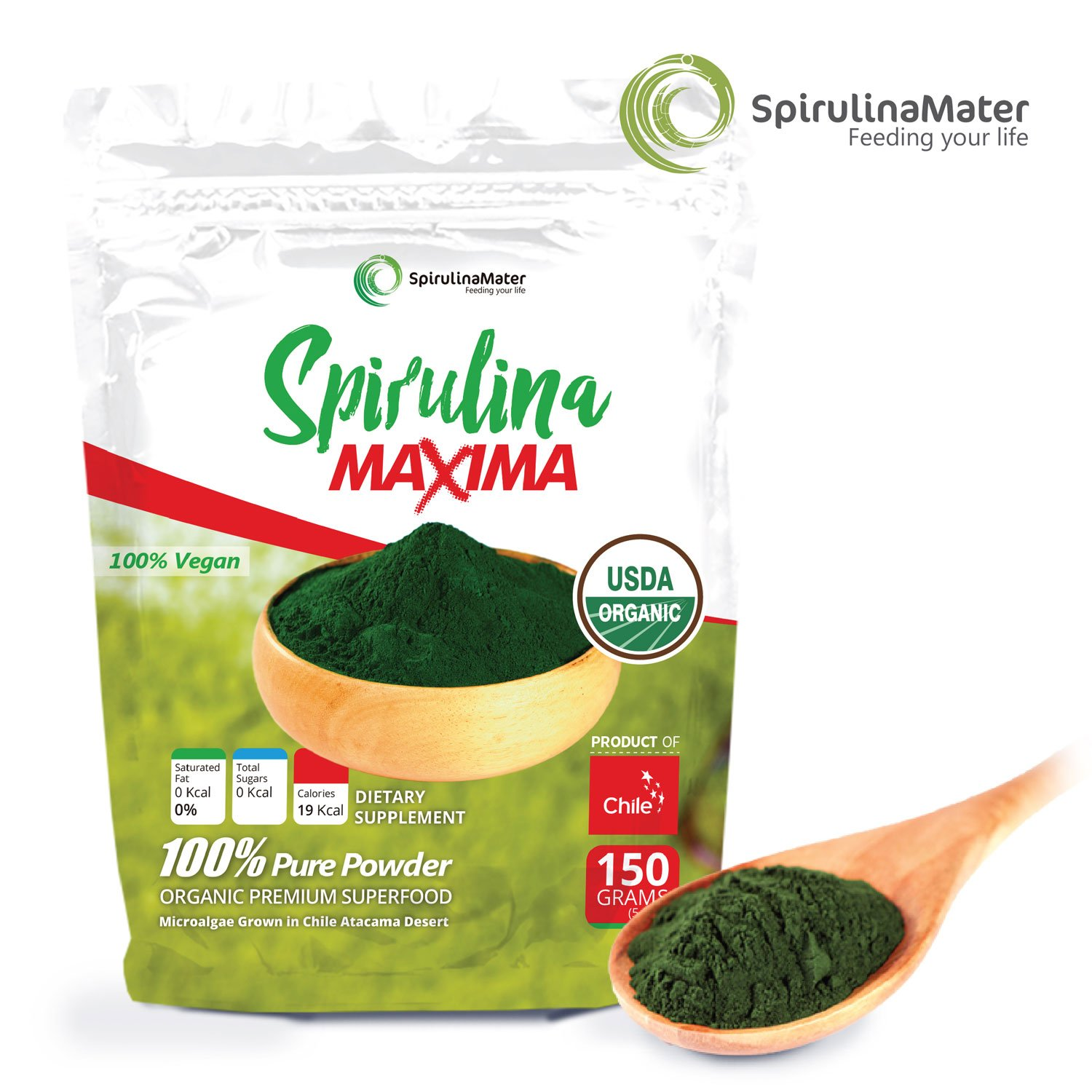 Amazon.com: Spirulina Protein Powder 10.5 Oz (300 Grams, 0.66 Lbs) by SPIRULINA MATER - Blue Green Algae Superfood – Vegan Organic Protein Powder - Gluten ...