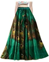 FASHION CARE Presents royal crepe printed skirt for women's ( Speciality more pankh printed on the skirt color :- multicolor Pattern:- long occasion:- party wear::occasion wear::festival wear::special look Waist Size :- 36 inch