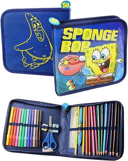 Bob Esponja estuche relleno escuela rotuladores para colorear Bolígrafos Dibujo Papelería, color SPONGEBOB SQUARE PENCIL CASE: Amazon.es: Oficina y papelería