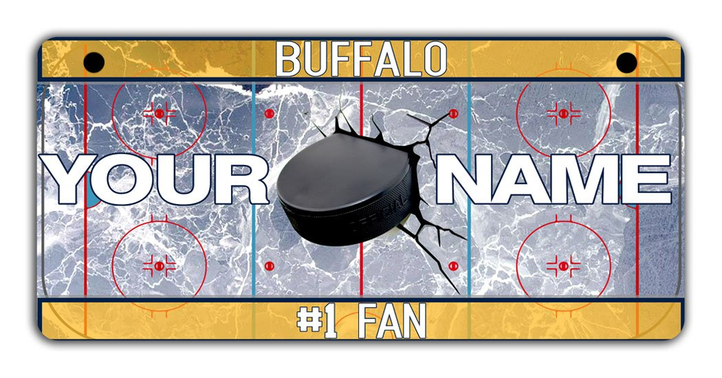 BRGiftShop Personalize Your Own Hockey Team Buffalo Bicycle Bike Stroller Childrens Toy Car 3x6 License Plate Tag