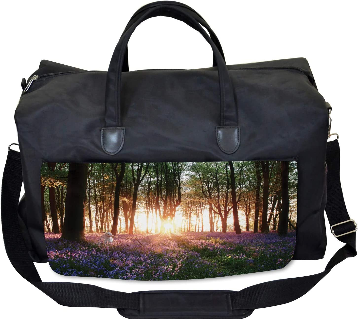 Sunrise Woods in Spring Large Weekender Carry-on Ambesonne Forest Gym Bag