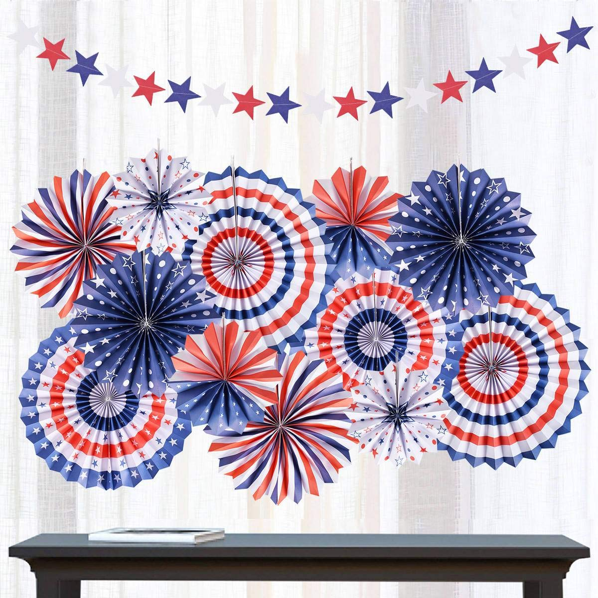 Set of 12 Patriotic 4th of July Hanging Paper Fans Rosettes Party Decor Decorations Supplies Photo Props for Independence Day, White Blue and Red