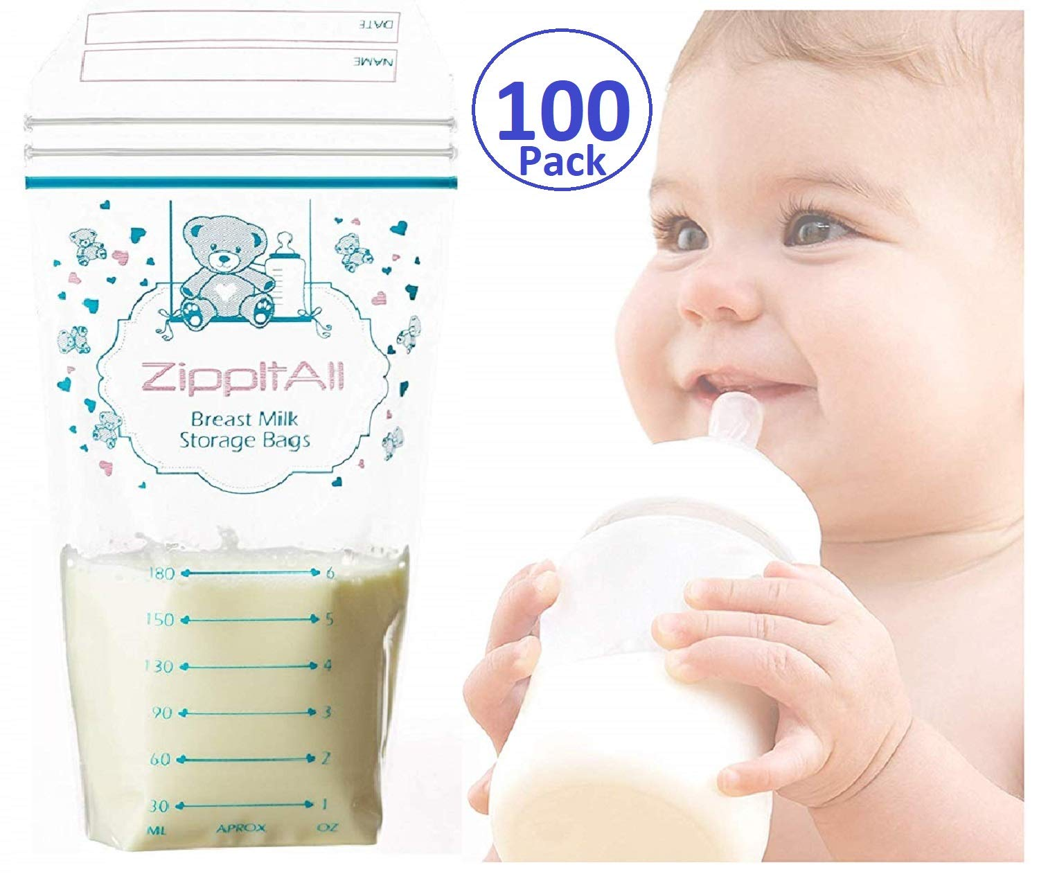 DiRose Breast Milk Storage Bags - Leak-Proof 100 Count Double Zipper 6 oz Capacity Extra Thick and Seal BPA/BPS Free/Disposable Pouches | Self-Standing Bag for Long and Safe Storing by DiRose