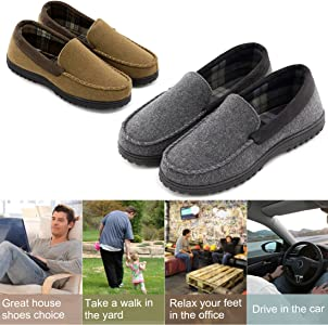 Men/'s Comfy Wool Micro Suede  Fleece Lined Moccasin Slippers Shoes