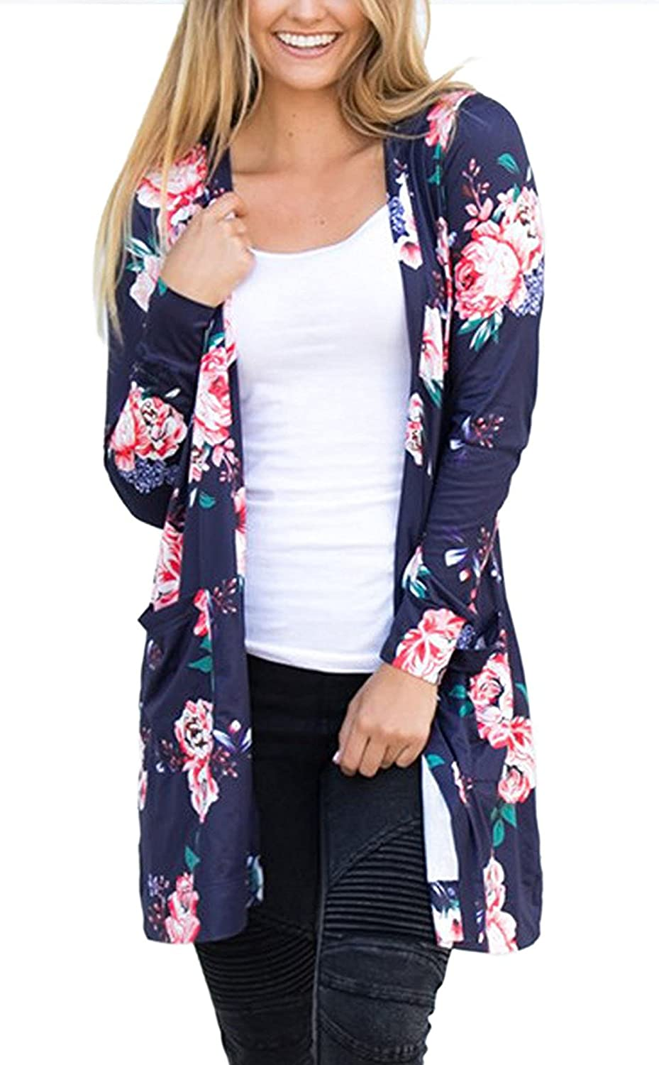 Elevesee Womens Long Sleeve Wrap Kimono Cardigans Casual Coverup Coat Tops Outwear