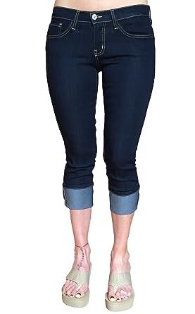 Flying Monkey Dark Wash Skinny Mid Rise Capri Jeans at Amazon ...