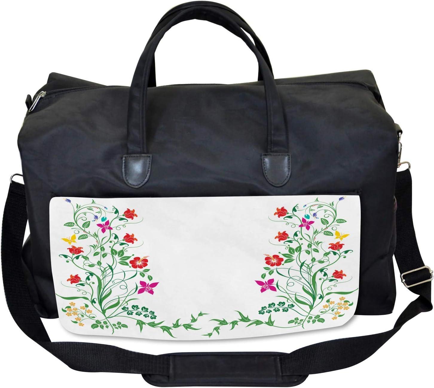Ambesonne Flower Gym Bag Large Weekender Carry-on Floral Leaves Buds Ivy