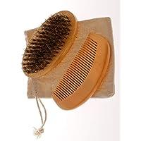 ComoRey - Kit Cepillo premium para Barba cerdas 100% naturales, cepillo madera natural y bolsa (Marrón)