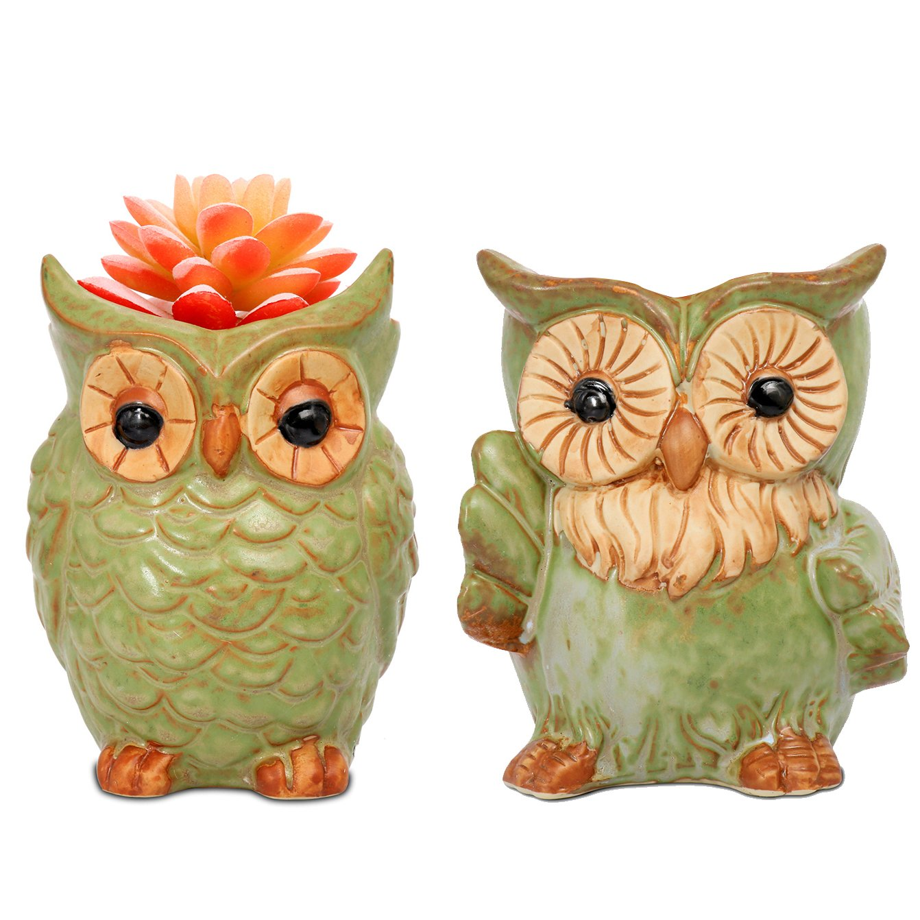ROSE CREATE 2pcs 5.3 Inches Big Owl Planters