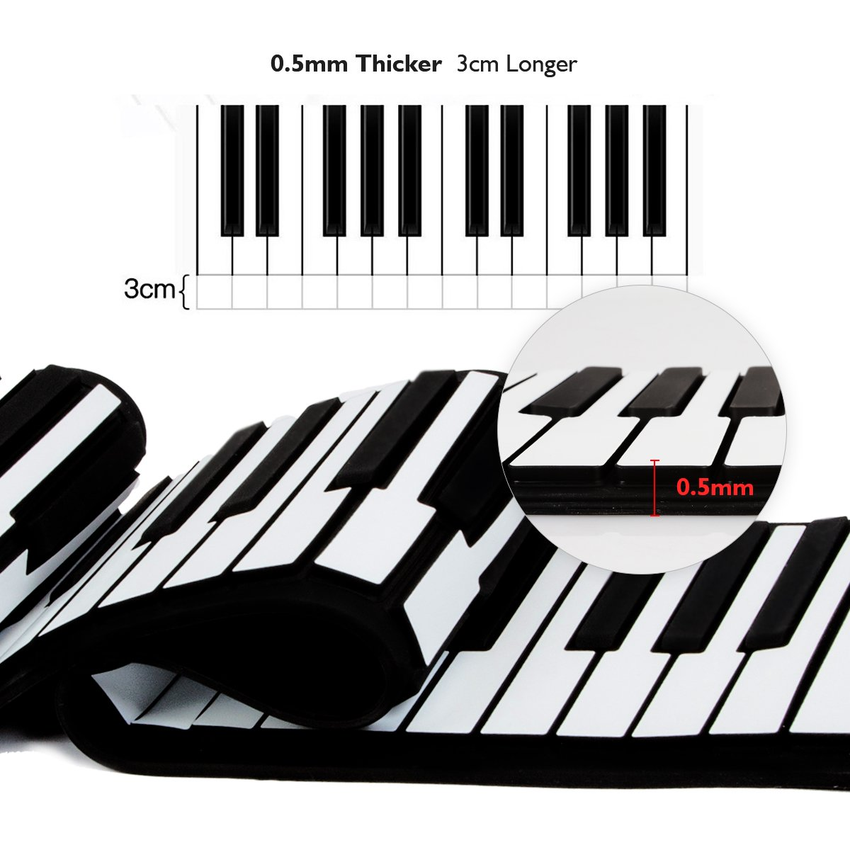 Amazon jouernow rup001 61 thickened keys roll up piano amazon jouernow rup001 61 thickened keys roll up piano multifunctional electronic digital synthesizer battery operated with built in speaker hexwebz Image collections