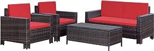 Homall 4 Pieces Outdoor Patio Furniture Sets Rattan Chair Wicker Conversation Sofa Set, Outdoor Indoor Backyard Porch Garden Poolside Balcony Use Furniture (Red)