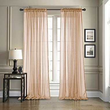 Dreaming Casa Solid Sheer Curtains Draperie Champagne Rod Pocket Two Panels 52  W x 84  L
