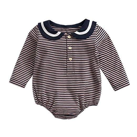 01f224a57d2 Amazon.com  Kehen Infant Baby Toddler Girls Spring Outfit Ruffle Romper  Bodysuit Striped Onesie Long Sleeve Shirt Cotton Jumpsuit  Clothing