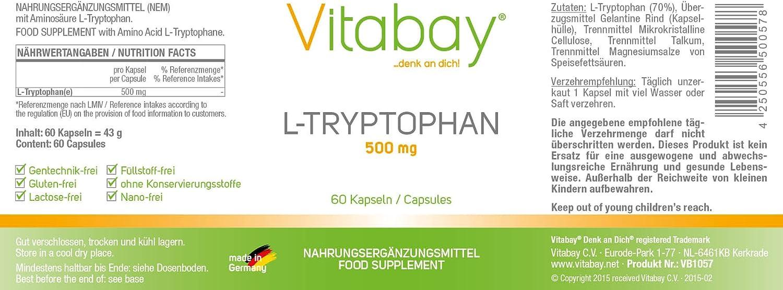 L-Triptófano - 500 mg - 60 cápsulas: Amazon.es: Salud y cuidado ...