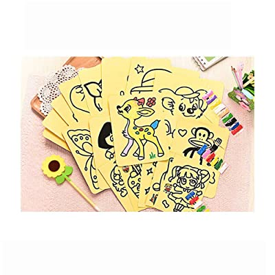 ANZQHUWAI Sand Art Kit for Kids Children DIY Colored Sand Art Painting Drawing Toy Kit Crafts Learning Education Color Sand Art Painting Cards 10pcs: Home & Kitchen