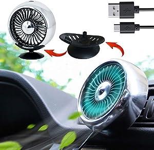 Kwak's Mini Fan for Car Air Vent Mount Fan with LED Light ABS Fan Sticker Mount Car Cooling Fan,for car home office (Silver)