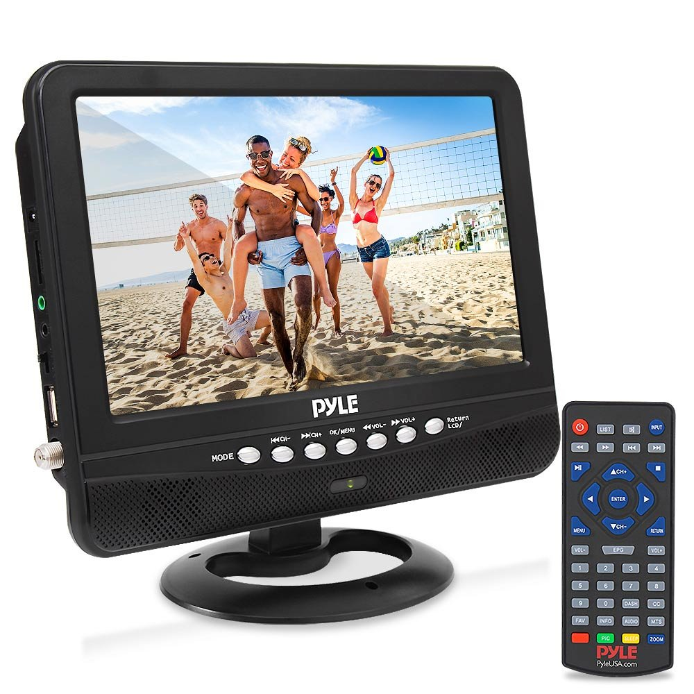 9 Inch Portable Widescreen TV - Smart Rechargeable Battery Wireless Car Digital Video Tuner, 800x480p TFT LCD Monitor Screen w/Dual Stereo Speakers, USB, Antenna, Remote, RCA Cable - Pyle PLTV9553 by Pyle