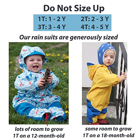 b41395bf96ad Amazon.com  JAN   JUL Kids Water-Proof Fleece-Lined Rain Suit One ...