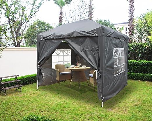 Airwave 2, 5 x 2, 5 m POP-UP cenador de jardín con 2 wind-bars y 4 pierna peso bolsas, antracita: Amazon.es: Jardín