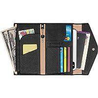 Genuine Leather Women Travel Passport Wallet Documents Organizer with RFID Blocking