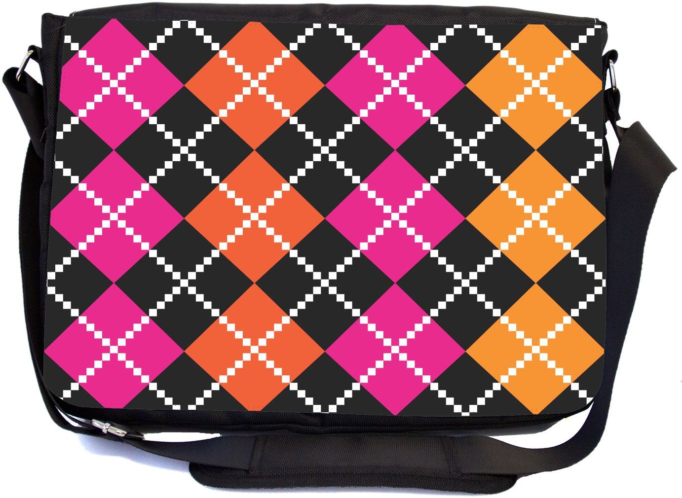 Rikki Knight Argyle Pink and Orange Design Design Multifunctional Messenger Bag - School Bag - Laptop Bag - with Padded Insert for School or Work - Includes Matching Compact Mirror