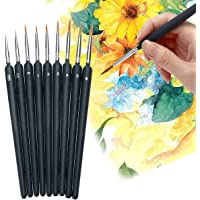 9 PCS Paint Brushes Set Nail Art Brushes Professional Sable Hair Extra Fine Detail Brushes for Watercolour Painting…