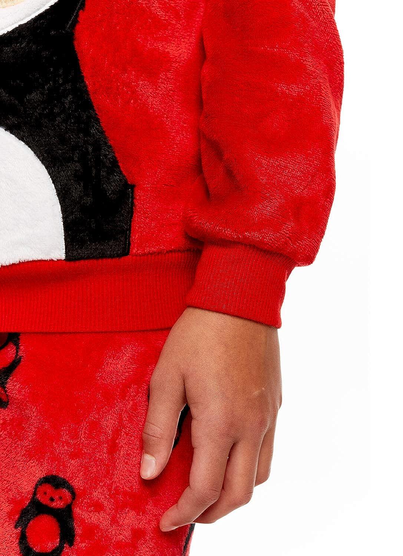 Long Sleeve Fleece Top /& PJ Pants XL Girls 2 Piece Plush Penguin Pajama Set