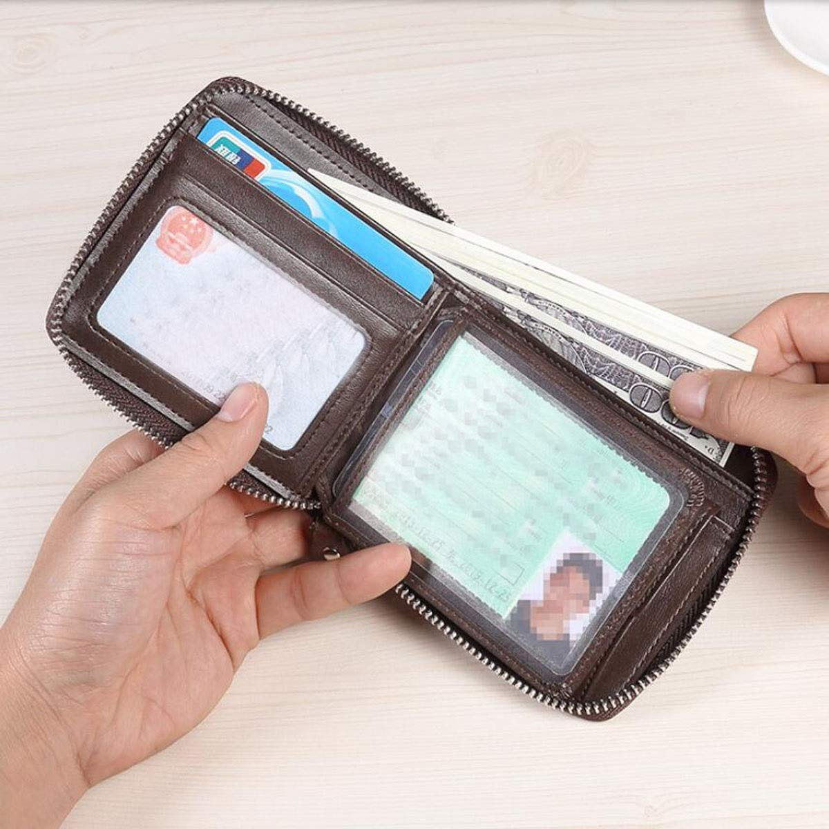 11 2.5 9.5 Color Kalmar RFID Travel Wallet cm Stealth Mode Blocking Leather Wallet Size, Suitable for Mens Short Casual Business Leather Wallet Black Color : Brown, Size : 112.59.5cm