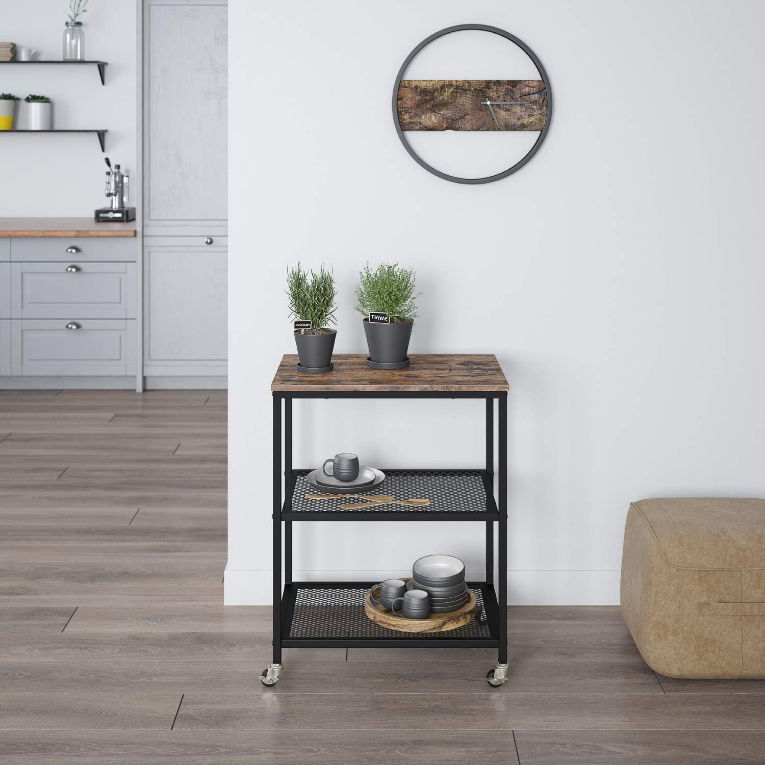 Rolling Utility Kitchen Serving Cart on Wheels 3-Tier Shelves Bathroom Kitchen Island Living Room Rustic Brown Home Office Storage with Metal Frame Ballucci Industrial Serving Cart