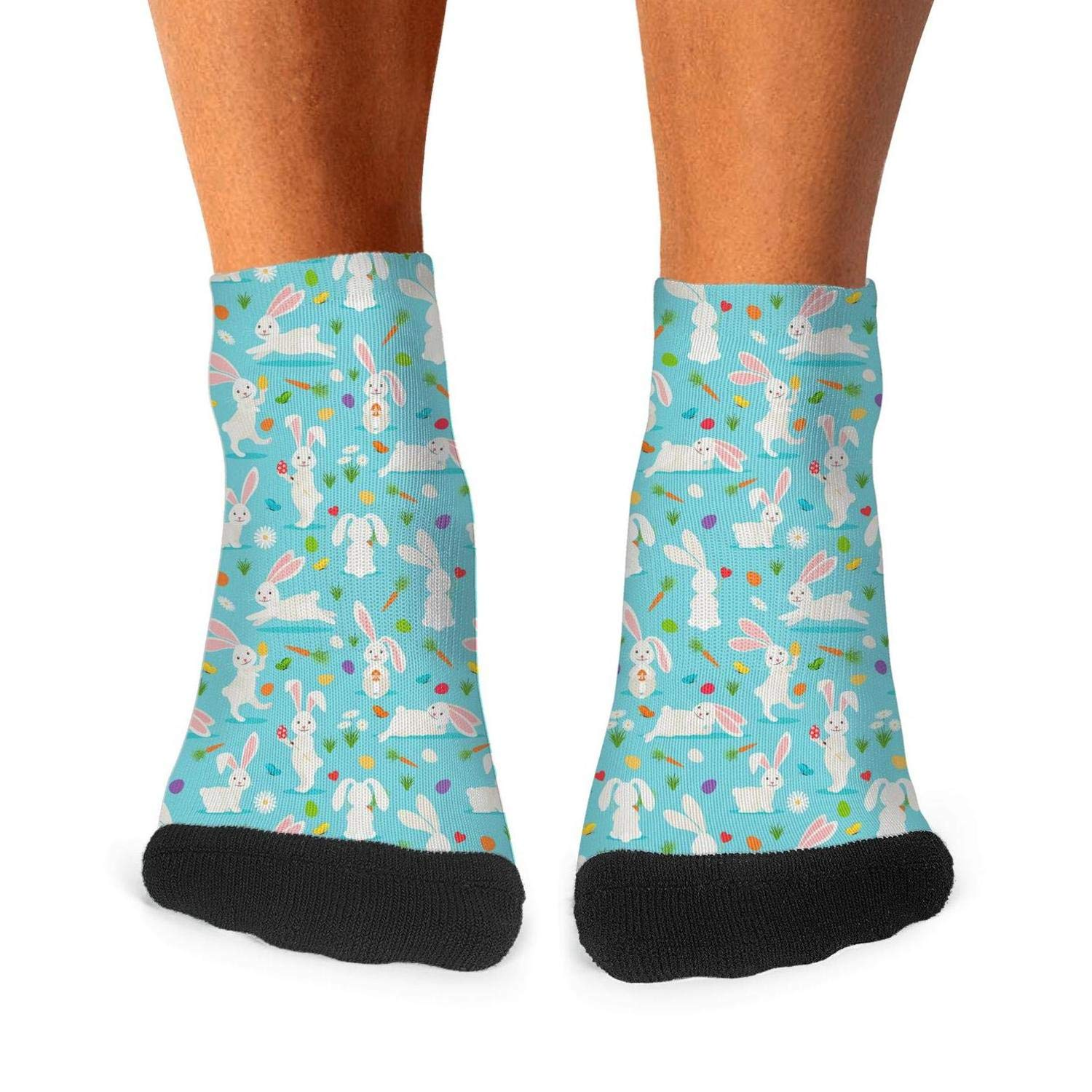 Tasbon Mens All-season Sports Socks Cute White Rabbit Bunnies Wth Carrots Blue Athletic Socks