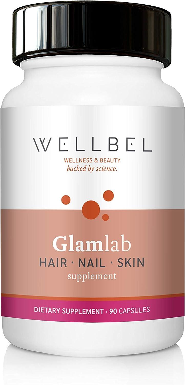 WellBel Glamlab Hair, Nail & Skin Dietary Supplement – 90 Capsules – 500mcg Biotin, 325mg MSM, Vitamin A, B12, D, Folic Acid, Horsetail, Saw Palmetto Extract, PABA, Selenium