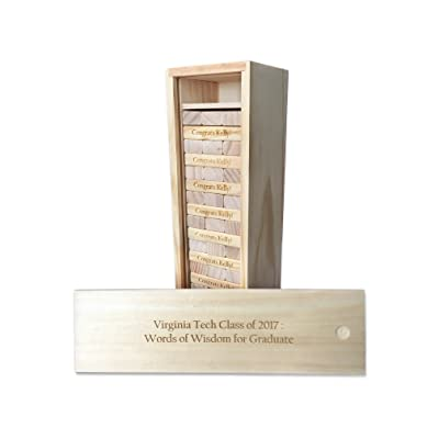 WE Games Custom Engraved Wood Block Toppling Timbers Game in Wooden Case - 12in.: Toys & Games