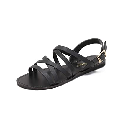 MACKIN J G340-10 Flat Strappy Sandals Gladiator Sandals for Women Flat Buckle Sandals | Flats