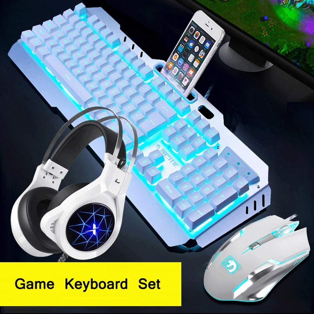 OUKB Mechanical Keycap Wired Keyboard Mouse Set Headset E-Sports Game Internet Cafes Home Colorful Backlight Metal Color : White Set+Earphones