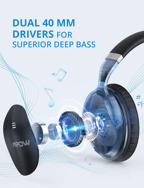 Mpow H5 sobre oreja Auriculares con cancelación de ruido Bluetooth Auriculares, estéreo inalámbrico auriculares w/micrófono, nunca apagado con copia de ...