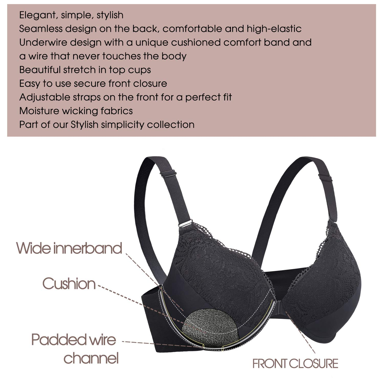 38D-46DDD Womens Plus Size Front Closure Bra Support Underwire Full Coverage Everyday Bra for DDD Cup